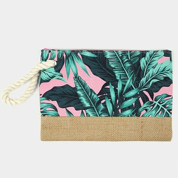 Tropical Leaves Pouch Clutch Bag