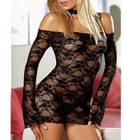 Sexy Women Collar Lace Transparent Lingerie Babydoll Dress G-string
