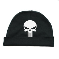 White Punisher Skull Infant Baby Beanie Cap Winter Hat One Size, Black