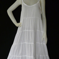 Size XS to 7X Handmade White Dress Hippie Bohemian Cotton Patchwork Halter Dress - BH045