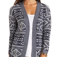 Open Aztec Cardigan Sweater by Charlotte Russe - Navy Combo