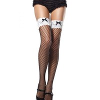 Black & White Industrial Net Thigh Highs