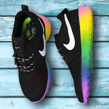 NIKE Roshe Trending Fashion casual sports shoes Colorful Rainbow Contrast shoes