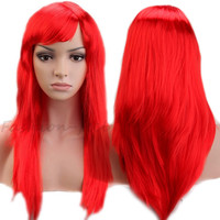 Free Shipping Red Color Party Wig Women Ladies New Fashion Cosplay Fancy Dress Synthetic Full Hair Wigs 50CM