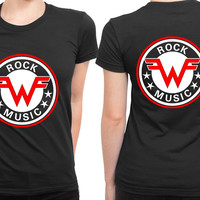 Weezer Logo Vintage Rock Music 2 Sided Womens T Shirt
