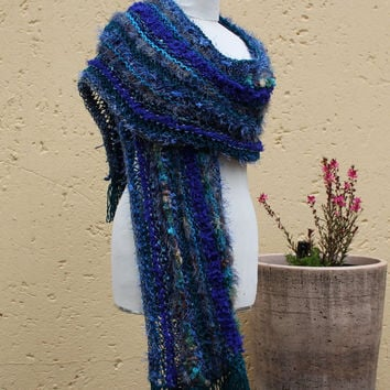 Fall scarf , Winter shawl , Extra long blue scarf , Warm soft wool scarf , Hand knit scarf , Shoulder wrap , Out of Africa SCAWL- DEEP BLUE