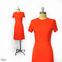 1950s Red Cocktail Dress • Sheath Style • 50s Red Holiday Dress • Vintage Red Dress • Short Sleeve Dress • Small 50s Dress • Lanz