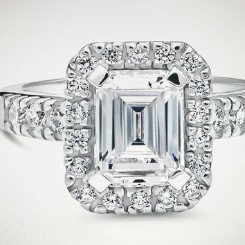 A Perfect 2.2CT Emerald Cut Russian Lab Diamond Halo Ring