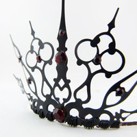 Red Gothique Black Filigree Gothic Tiara by angelyques on Etsy