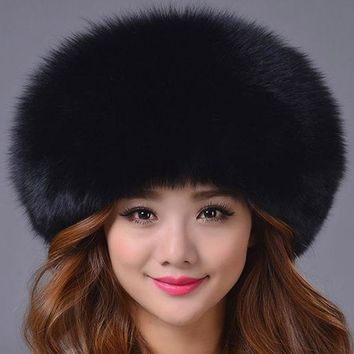 DCCKJG2 Fox Fur Genuine Leather Hat for Women Millinery Princess Hat Leather Strawhat Fox Skin Fur Hat Mink Fedoras