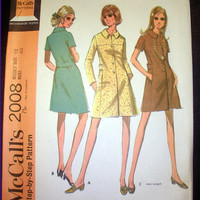Vintage 1960's Retro Coatdress In Two Lengths, Size 18 Bust 40 McCall's 2008 Sewing Pattern Uncut