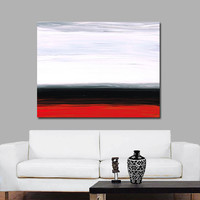 White Horizon Red Gray Black Abstract Landscape Art Painting Huge Big Large Canvas Sharon Cummings Modern Contemporary Artwork