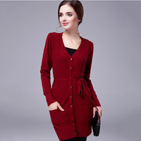V-Neck Long-Sleeved with Ribbon Belt Knit Cardigan Dress