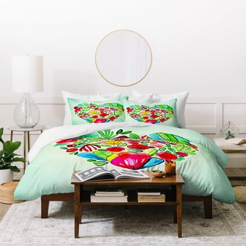 CayenaBlanca Flower Heart Duvet Cover