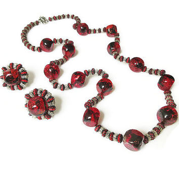 Hobe Necklace, Hobe Earrings, Red Crackle Glass, Silver Filigree, Vintage Necklace, Vintage Earrings, Vintage Jewelry Set