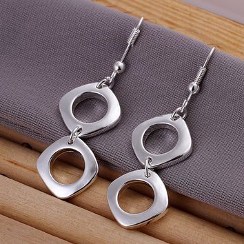 Double Square Silver Earring
