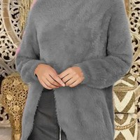 Grey Slit Round Neck Long Sleeve Casual Pullover Sweater