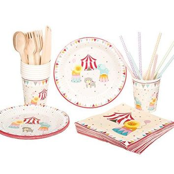 Circus Birthday Party Supplies Set,RiscaWin Party Set Supplies for 8, Paper Plates,Paper Cups,Paper Straws,Napkins,Wooden Forks,Wooden Knives,Wooden Spoon– Complete Party Pack(Circus)