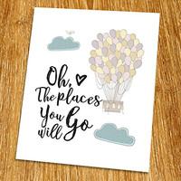 "Oh The Places You'll Go Print (Unframed), Motivational Quote, Inspirational Poster, Nursery Decor, Guest Room Decor, Entrance Wall Decor, 8x10"", TA-075"
