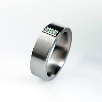 Green diamond ring, titanium wedding band, white gold, mens wedding ring, men green diamond ring, men titanium, men unique ring, commitment