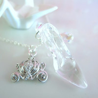 Cinderella glass slipper carriage sterling silver Swarovski crystal necklace, Cinderella shoe pumpkin crystal carriage necklace