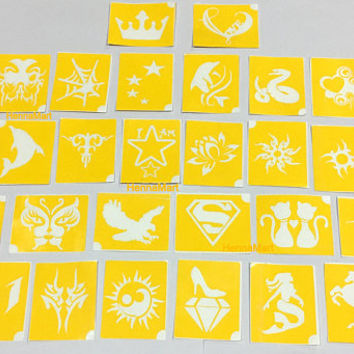 30 Henna Design Tattoo Stencils For Application of Henna Paste Temporary Body Art Kit