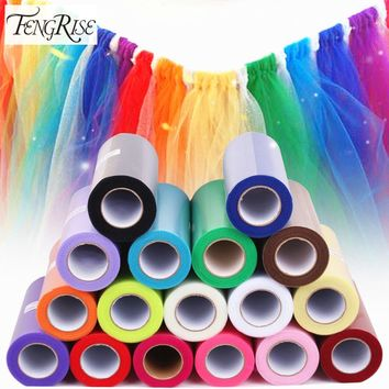 FENGRISE Tulle Roll 15cm 25 Yards Wedding Party Decoration DIY Tutu Fabric Decorative Crafts Christmas Kids Queen Skirts