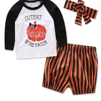2018 Cute Baby Boy Set girls halloween clothing sets Pumpkin Set for Girls Baby Girl Clothes Baby Clothing Sets Toddler Clothes