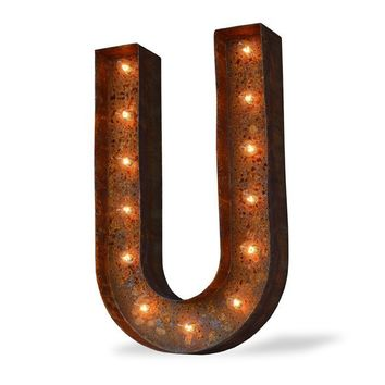 "36"" Letter U Lighted Vintage Marquee Letters (Modern Font/Rustic)"