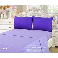Tache 3 to 4 PC Cotton Solid Lavender Dream Dark Purple/ Light Purple Bed Sheet Set (BS4PC-PP)