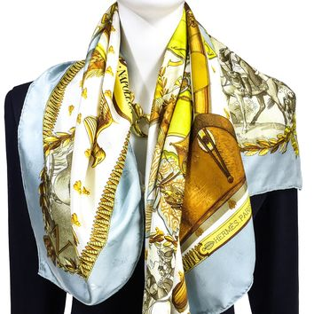 Hermes Silk Scarf Napoleon Lt Blue Chartreuse Early Issue