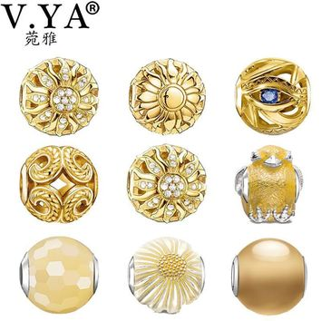 V YA Luxury Gold Color Charm Beads fit for Pandora Necklaces Bracelets Bangles Women's