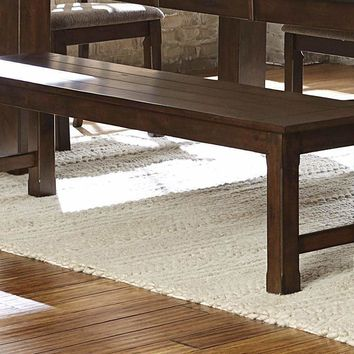 Wooden Dining Side Bench, Burnished Brown