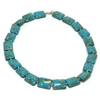 Amazing Green Simulated Turquoise Howlite Necklace 19 Inch With Lobster Clasp