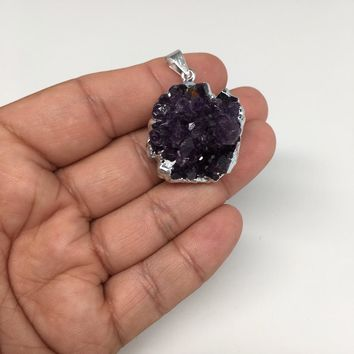 "14.4g,1.5""x1""Natural Rough Amethyst Druze Pendant Silver Plated @Brazil,Bp1406"