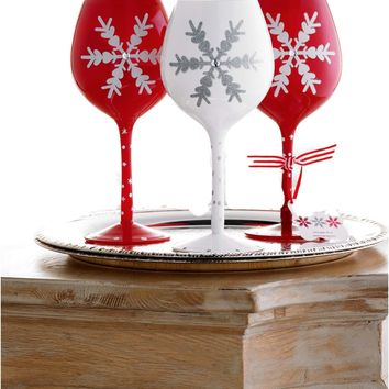 Mud Pie-Christmas Snowflake Wine Glass, White