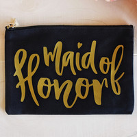 """Maid of Honor"" Cosmetic Bag  - Black w/Gold"