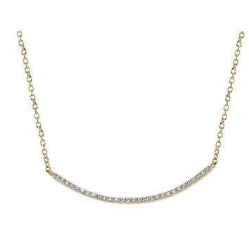 "Thin CZ Curved Bar Necklace in 18k Gold Plated Sterling Silver, Length: 15.5""+2"" Inches"