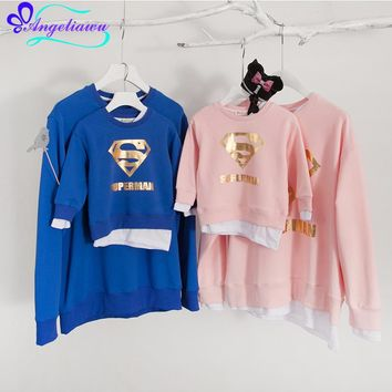 2017 New Spring/Autumn Family Look Father Son Mother  And Daughter Clothes Full Sleeve Ropa Mama E Hija Hoodies Superman outfit
