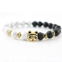 Antique Gold Panda Charm Bracelets New Design Stones Natural Beads Bangle Handmade for Men's Accessories Women's Fashion Jewelry