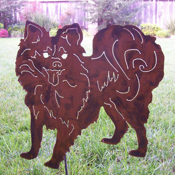 Unique Papillon  Metal art stake  garden sculpture dog lovers gift steel Pet memorial