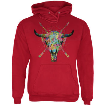 Splatter Cow Skull Red Adult Hoodie