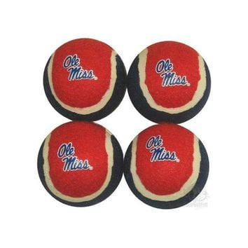 DCCKT9W Ole Miss Rebels Tennis Ball 4-Pak