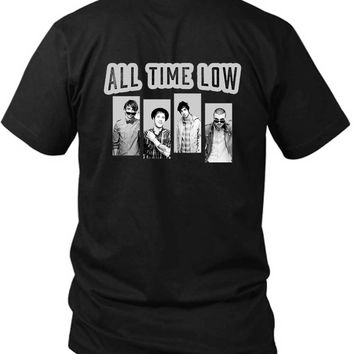 All Time Low Grayscale 2 Sided Black Mens T Shirt