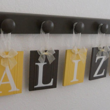 Yellow Brown Baby Girl Nursery Decor - Hanging Ribbon Letter Name Plates Personalized for ALIZA with 5 Chocolate Brown Wood Pegs