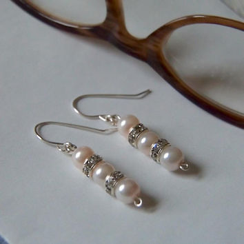 Bridal Party Earrings:  Blush Pink Glass Pearls and Crystal Rhinestones dangle from silver plated wires.