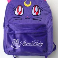 Purple Luna Kitty Cat Sailor moon Fluffy Plush Super Kawaii backpack school bag FREESHIPPING SP130267 from SpreePicky