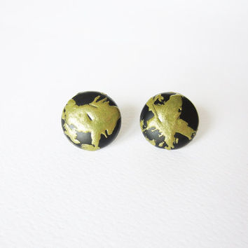 OOAK BLACK & GOLD stud earrings. Unique hand decorated relief in brass studs