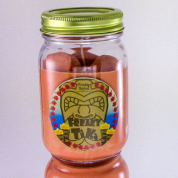 Freaky Tiki Soy Wax Candle with Orange Slices on Top (No Phthalates, Vegan, Hand Poured), 10 oz. Smells like Tropical Fruit, Apricot, Citrus