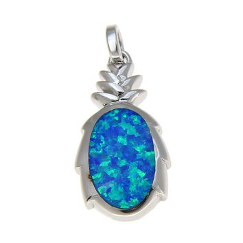 925 Sterling Silver Rhodium Hawaiian Pineapple Blue Opal Pendant Charm